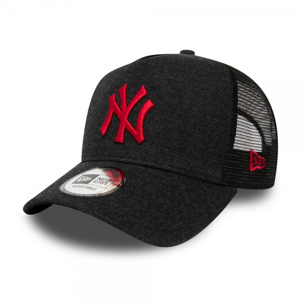 New York Yankees Red Logo Essential Jersey Black A-Frame Trucker